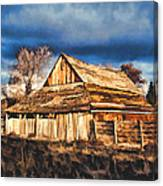 Setting Sun Gathering Storm And Old Homestead Canvas Print
