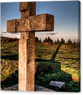 Setting Sun On A Cross By The Trenches Canvas Print