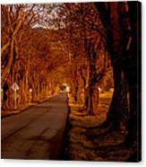Setting Sun On Country Road Canvas Print