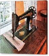 Sewing Machine Near Lace Curtain Canvas Print