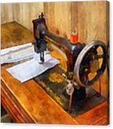 Sewing Machine With Orange Thread Canvas Print