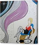 Sexy Woman Sitting In A Chair At A Nightclub Canvas Print
