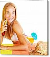 Sexy Woman Using Sunscreen Canvas Print