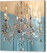 Shabby Chic Cottage Sparkling White Crystal Chandelier Photo - Dreamy Parisian Crystal Chandelier  Canvas Print