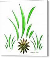 Shades Of Green Leaves And Green Flower Design Canvas Print