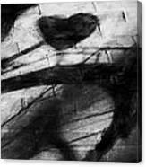 Shadow Heart Rough Charcoal Canvas Print
