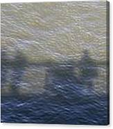 Shadow Of People Standing On The Bridge Over The River Main In Frankfurt Am Main Germany Canvas Print