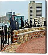 Shadow Representations Of People Coming To The Port In Donkin Reserve In Port Elizabeth-south Africa   Canvas Print