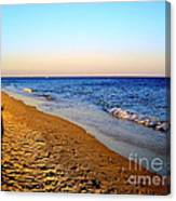 Shadows On Sand Beach Canvas Print