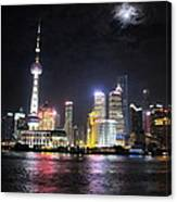 Shanghai Tower With Full Moon Night  China  Canvas Print