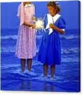 Sharing A Sparkler  Canvas Print