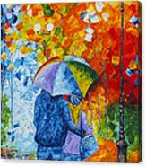 Sharing Love On A Rainy Evening Original Palette Knife Painting Canvas Print