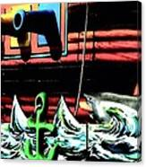 Shark And Pirate Ship Pop Art Posterized Photo Canvas Print