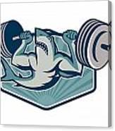 Shark Weightlifter Lifting Weights Mascot Canvas Print