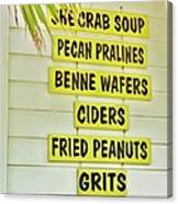 She Crab Soup And Fried Peanuts Canvas Print