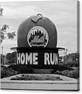 Shea Stadium Home Run Apple In Black And White Canvas Print
