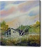 Shed With A Rail Fence Canvas Print