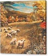 Sheep In October's Field Canvas Print