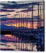 Shilshole Olympic Mountains Sunset Canvas Print