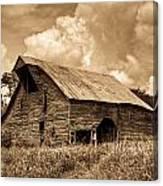 Shingle Barn Sepia 2 Canvas Print