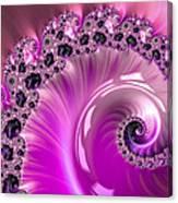 Shiny Pink Fractal Spiral Canvas Print