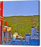 Ship At The End Of Water Street In Saint John's-nl Canvas Print
