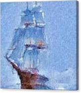 Ship In Fog Canvas Print