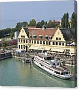 Ship In The Lindau Harbor Lake Constance Germany Canvas Print