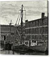 Ship Mooring Vintage Canvas Print