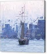 Ship Through The Haze Canvas Print