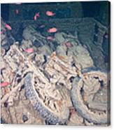 Motorbikes On A Ship Wreck Canvas Print