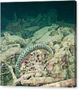 Ship Wreck And Motorbikes Canvas Print