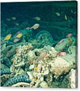 Ship Wreck With Motorbikes Canvas Print