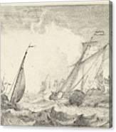 Ships At Sea, Ludolf Bakhuysen Canvas Print