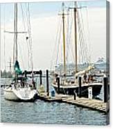 Ships In Newport Harbor Canvas Print
