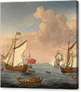 Ships In The Thames Estuary Near Sheerness Canvas Print