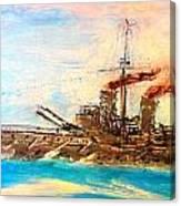 Ship's Portrait - Hms Dreadnought 1908 Canvas Print
