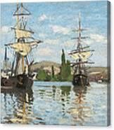 Ships Riding On The Seine At Rouen Canvas Print