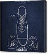 Shoe Eyelet Patent From 1905 - Navy Blue Canvas Print