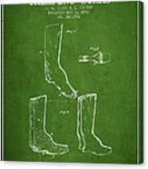 Shoes And Boots Crimping Board Patent From 1881 - Green Canvas Print