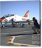 Shooter Signals To The Pilot Of A T-45c Canvas Print