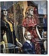 Shop Window Display Of Mannequins Canvas Print