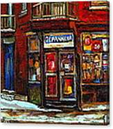 Shops And Streets Of St Henri- Montreal Paintings Depanneur Coca Cola Winter City Scenes Canvas Print