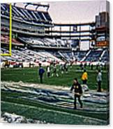 Shoveling Before The Game Canvas Print