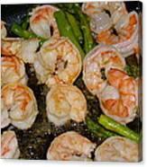 Shrimp And Asparagus Canvas Print