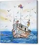 Shrimp Boat Sailing Canvas Print