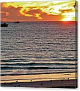 Shrimp Boats And Gulls Over Sea Of Cortez At Sunset From Playa Bonita Beach-mexico Canvas Print