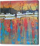 Shrimp Boats At Dawn Canvas Print