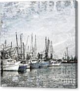 Shrimp Boats Sketch Photo Canvas Print