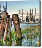 Shrimp Dock Pilings Canvas Print